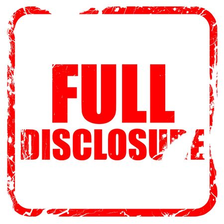 disclosure: full disclosure, red rubber stamp with grunge edges