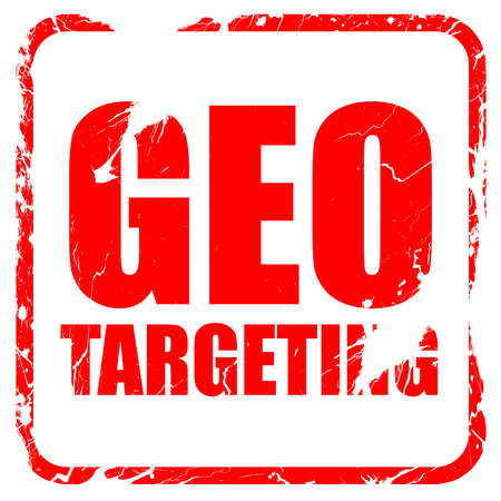 geo: geo targeting, red rubber stamp with grunge edges Stock Photo