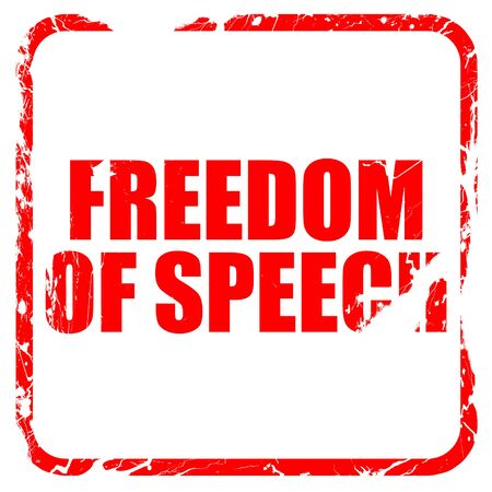 silenced: freedom of speech, red rubber stamp with grunge edges