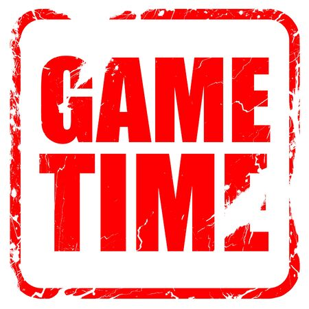 game time: game time, red rubber stamp with grunge edges