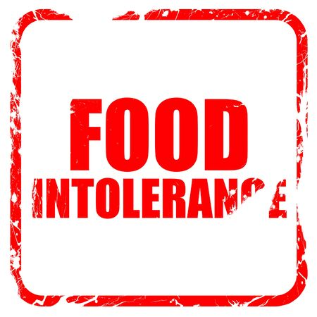 intolerance: food intolerance, red rubber stamp with grunge edges