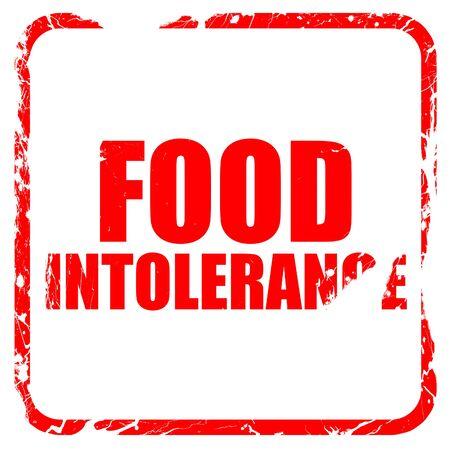 intolerancia: intolerancia a los alimentos, sello de goma de color rojo con bordes grunge
