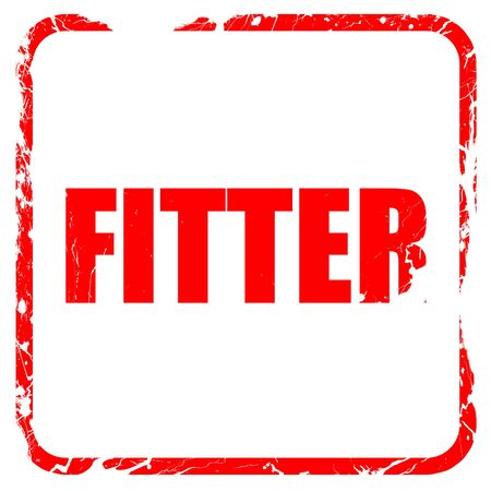fitter: fitter, red rubber stamp with grunge edges Stock Photo