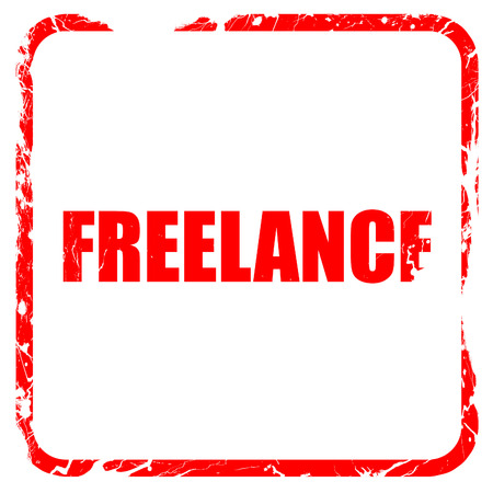 freelance: freelance, red rubber stamp with grunge edges