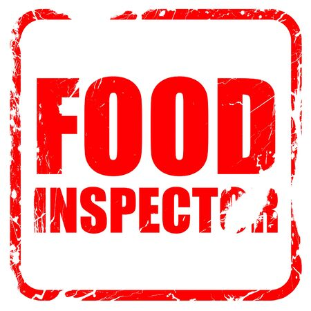 inspector: food inspector, red rubber stamp with grunge edges