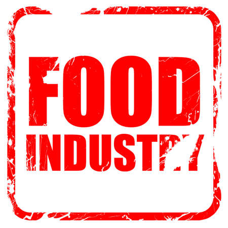 food industry: food industry, red rubber stamp with grunge edges