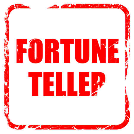 fortuneteller: fortune teller, red rubber stamp with grunge edges