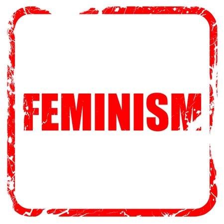 feminism: feminism, red rubber stamp with grunge edges