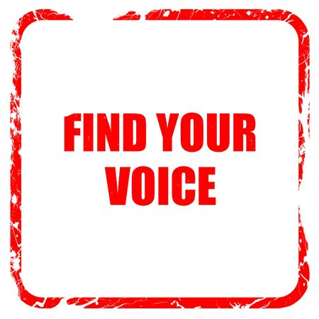 self discovery: find your voice, red rubber stamp with grunge edges