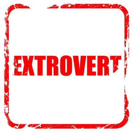 extrovert: extrovert, red rubber stamp with grunge edges