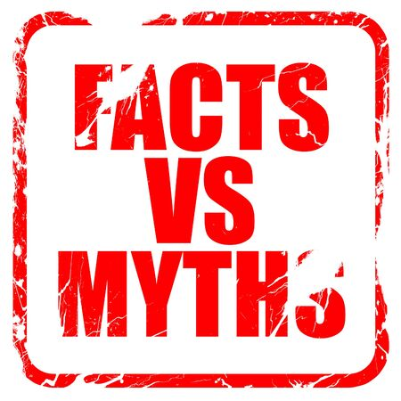 outweigh: facts vs myths, red rubber stamp with grunge edges Stock Photo