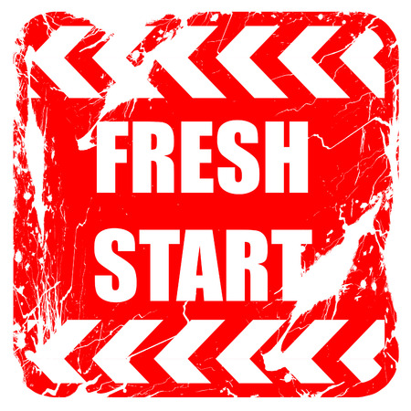 brighter: Fresh start sign with some smooth lines and highlights, red rubber stamp with grunge edges