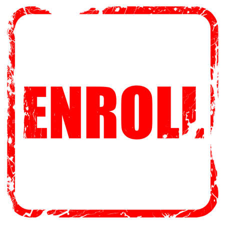 enroll: enroll, red rubber stamp with grunge edges