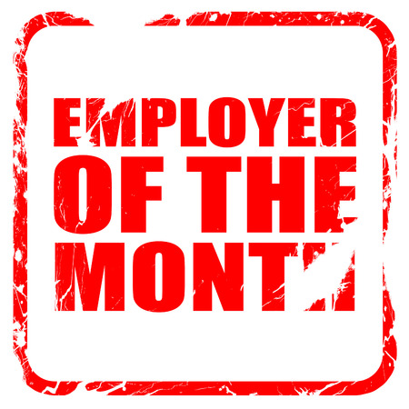 employer: employer of the month, red rubber stamp with grunge edges Stock Photo