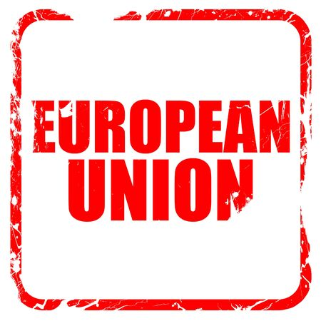 election commission: european union, red rubber stamp with grunge edges