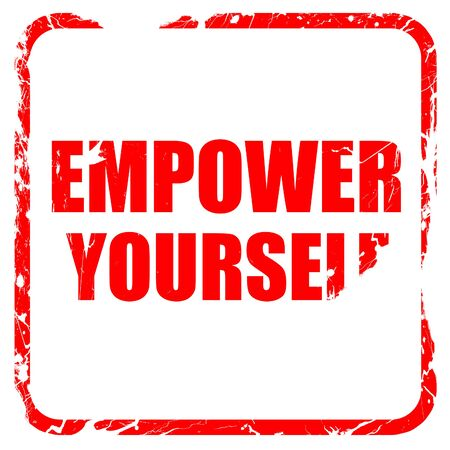 empower: empower yourself, red rubber stamp with grunge edges Stock Photo