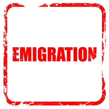 emigration: emigration, red rubber stamp with grunge edges Stock Photo