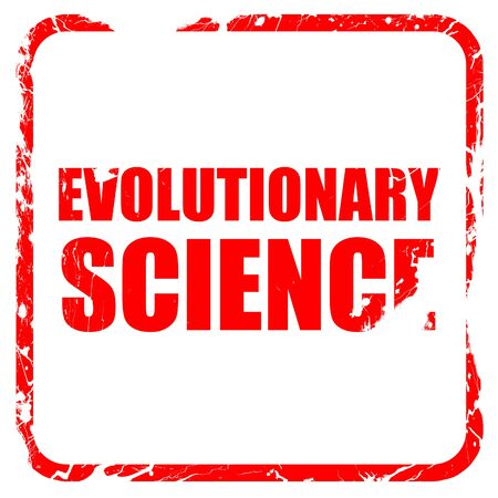 evolutionary: evolutionary science, red rubber stamp with grunge edges Stock Photo
