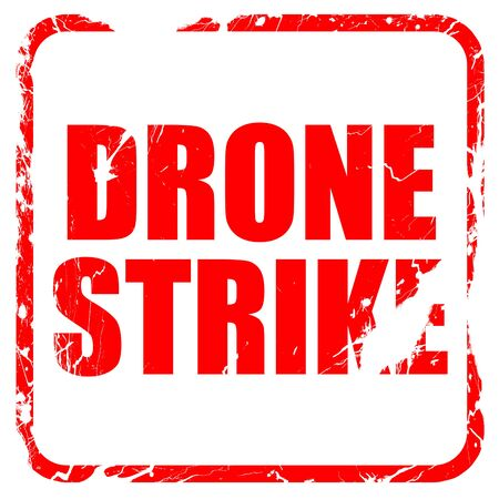 isolation tank: drone strike, red rubber stamp with grunge edges