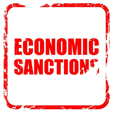 international crisis: economic sanctions, red rubber stamp with grunge edges