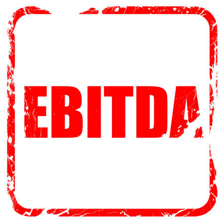 amortization: ebitda, red rubber stamp with grunge edges