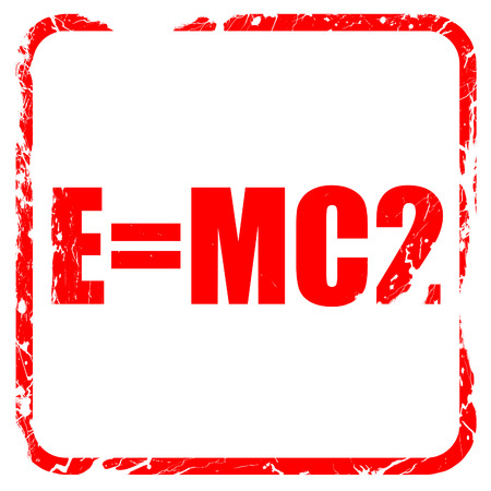 e=mc2, red rubber stamp with grunge edges