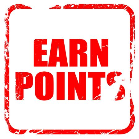 persuasive: earn points, red rubber stamp with grunge edges Stock Photo