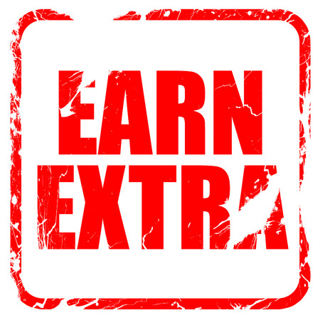 earn: earn extra, red rubber stamp with grunge edges