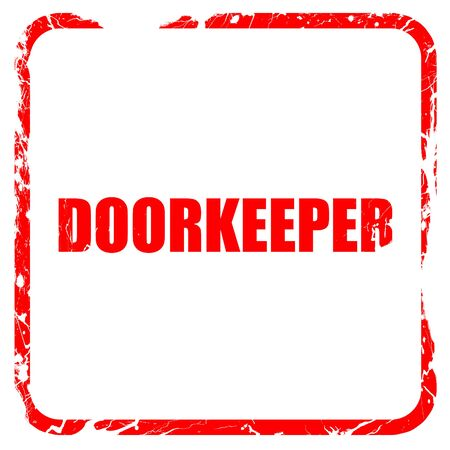 doorkeeper: doorkeeper, red rubber stamp with grunge edges Stock Photo