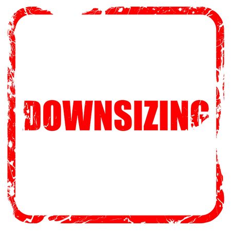 downsizing: downsizing, red rubber stamp with grunge edges