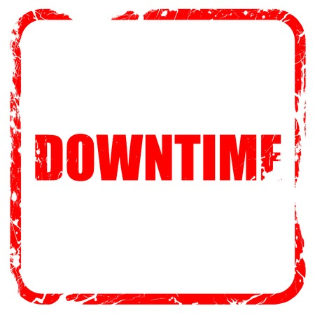 downtime: downtime, red rubber stamp with grunge edges