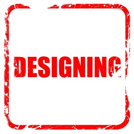 designing: designing, red rubber stamp with grunge edges Stock Photo