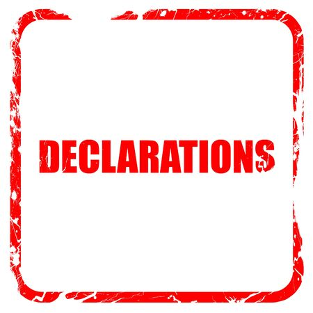 declare: declarations, red rubber stamp with grunge edges