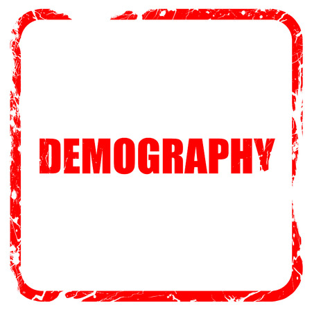 demografia: la demografía, sello de goma de color rojo con bordes grunge Foto de archivo