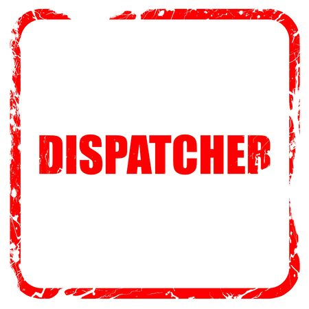 dispatcher: dispatcher, red rubber stamp with grunge edges Stock Photo