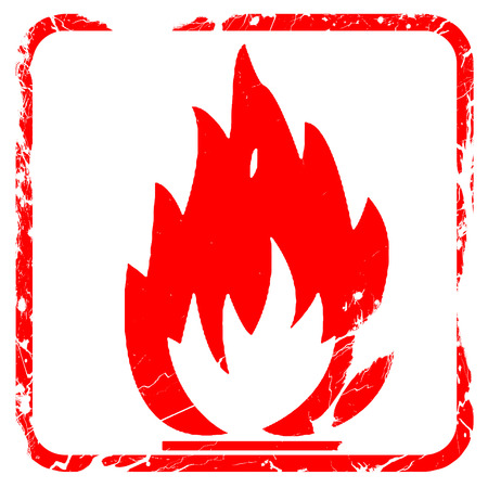 Flammable hazard sign with yellow and black colors, red rubber stamp with grunge edges Stock Photo