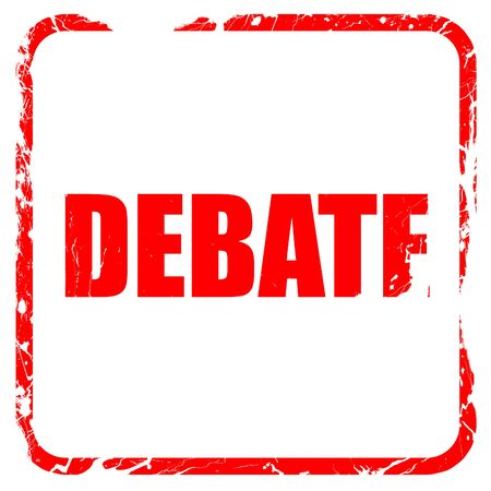 debate: debate, red rubber stamp with grunge edges