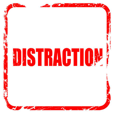 distraction: distraction, red rubber stamp with grunge edges