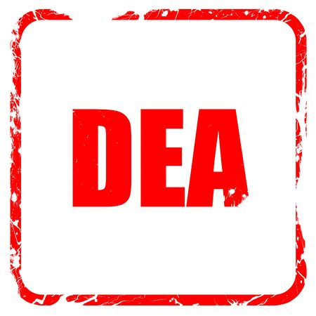 illegal act: dea, red rubber stamp with grunge edges