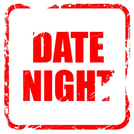 out of engagement: date night, red rubber stamp with grunge edges