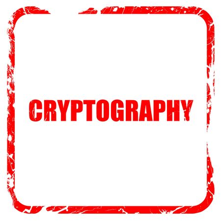 cryptography: cryptography, red rubber stamp with grunge edges