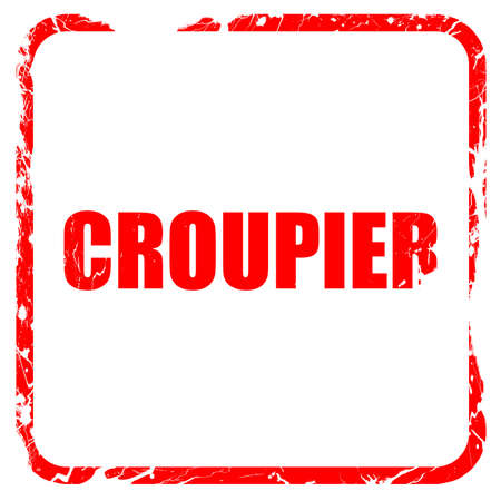 croupier: croupier, red rubber stamp with grunge edges Stock Photo