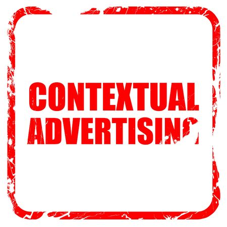 contextual: contextual advertising, red rubber stamp with grunge edges