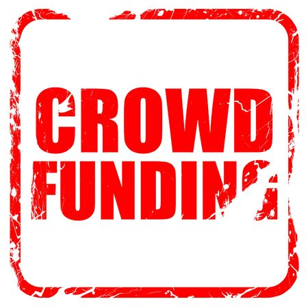 action fund: crowd funding, red rubber stamp with grunge edges