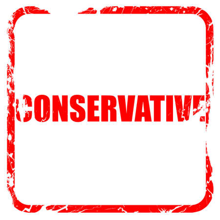 conservative: conservative, red rubber stamp with grunge edges