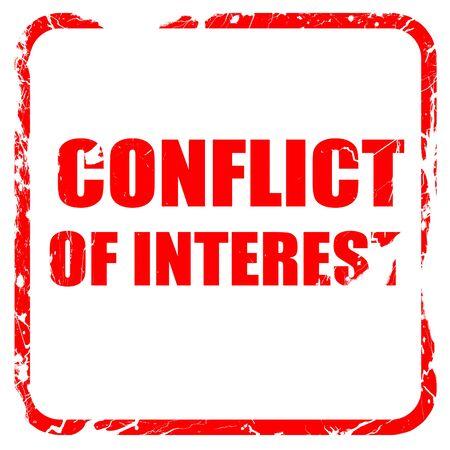 conflit d'intérêts, tampon en caoutchouc rouge avec bords grunge