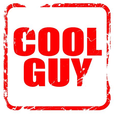 cool guy: cool guy, red rubber stamp with grunge edges