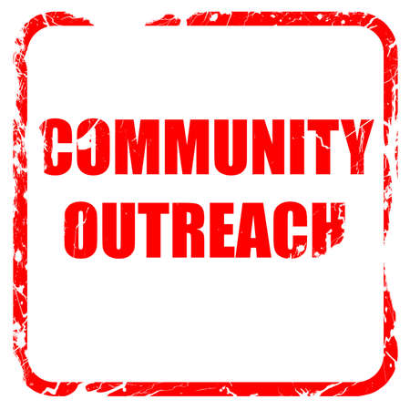 outreach: Community outreach sign with some smooth lines, red rubber stamp with grunge edges