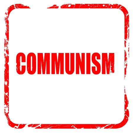 communism: communism, red rubber stamp with grunge edges