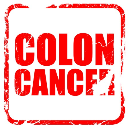 colon cancer: colon cancer, red rubber stamp with grunge edges